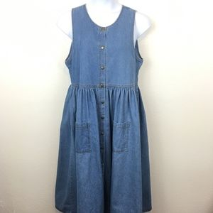Vintage Western Denim Snap Front Dress Size L